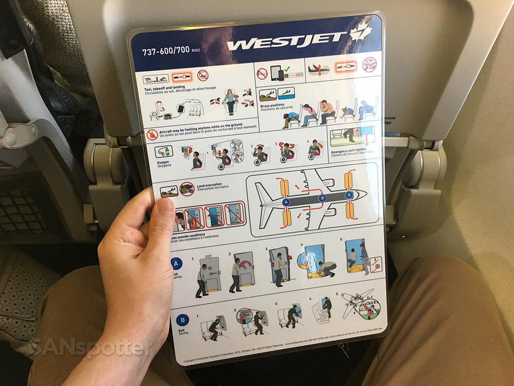 westjet 737-600/700 safety card
