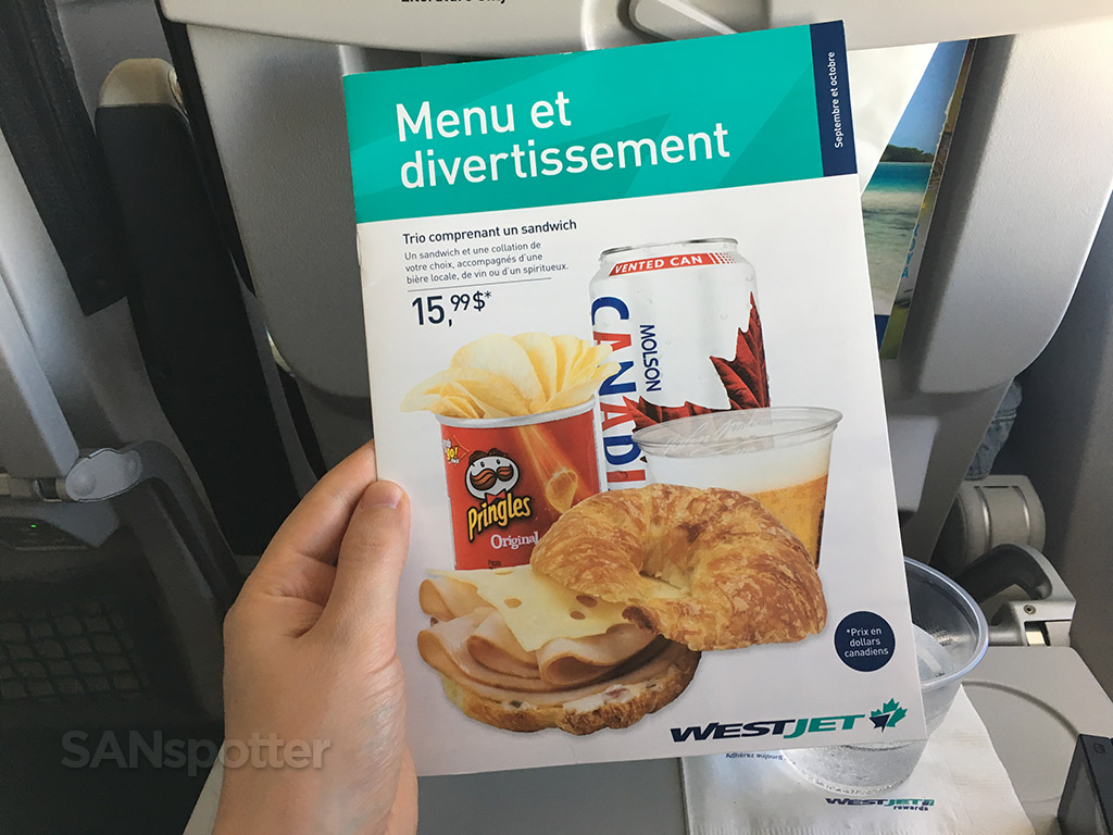 westjet food for purchase menu