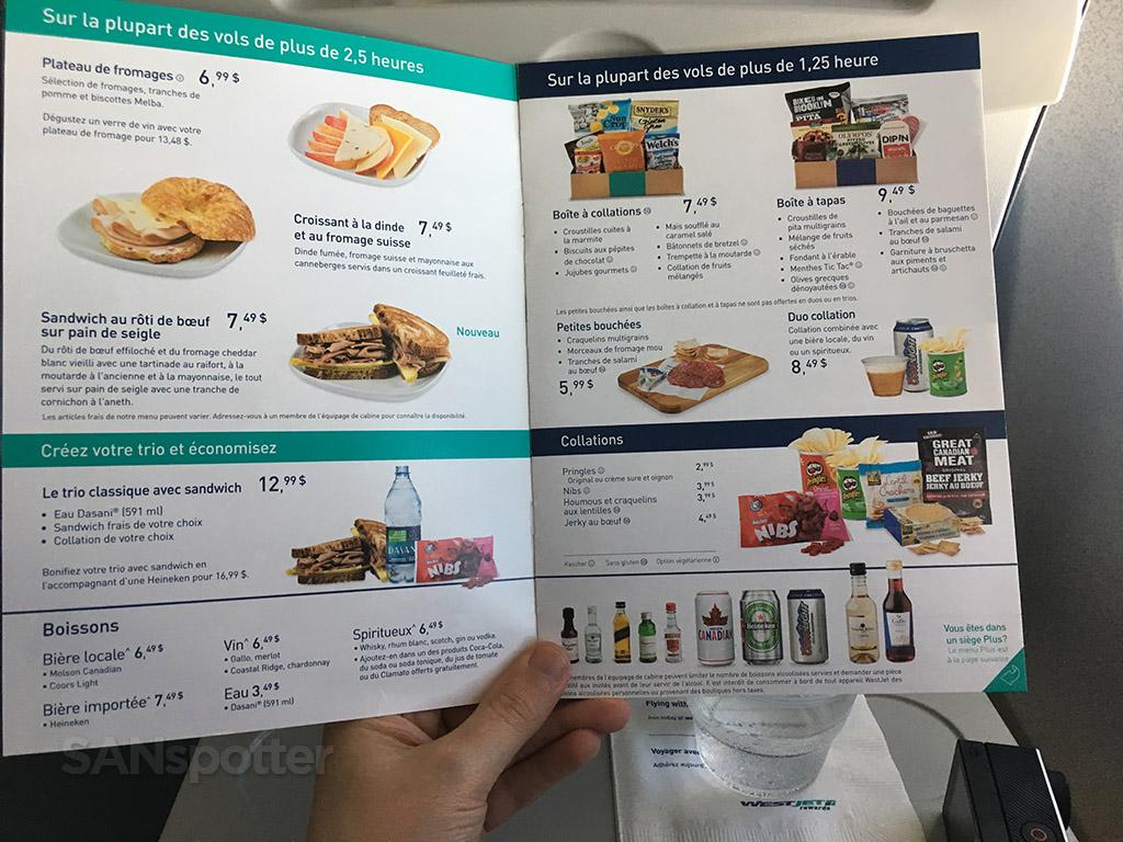 westjet food for purchase