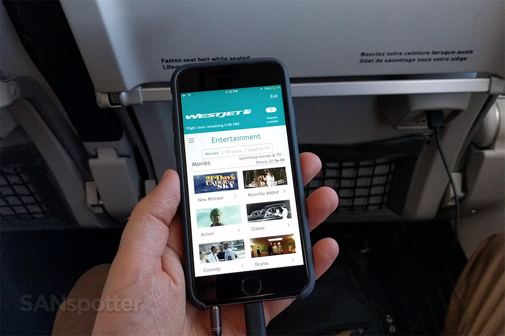 westjet mobile app in flight entertainment