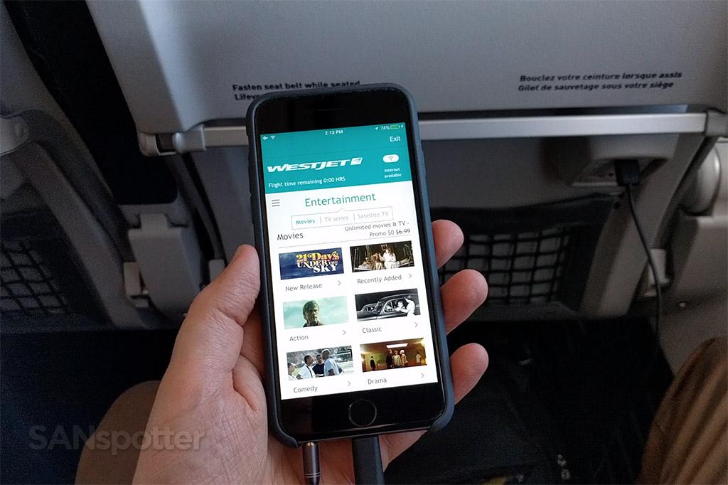westjet mobile app in flight entertainment