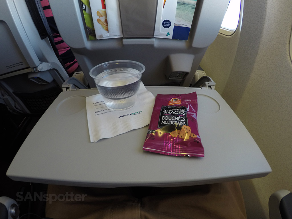 westjet economy class snack service