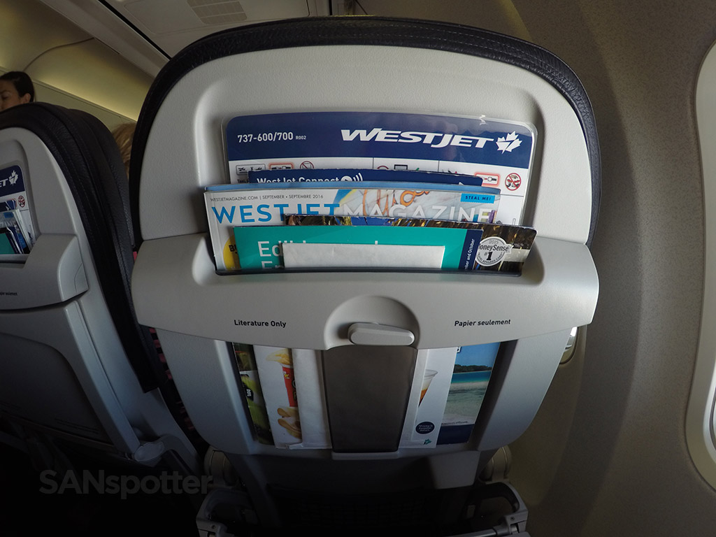 westjet 737-700 seat back pockets