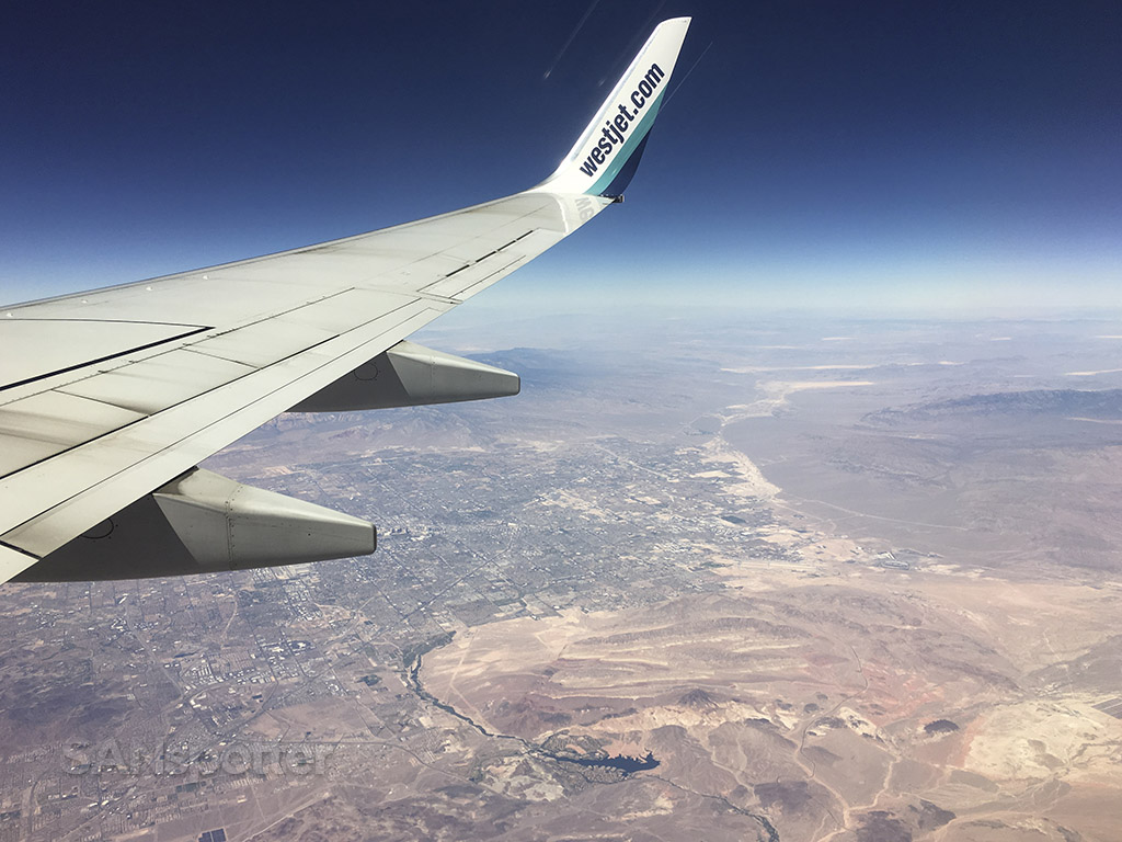westjet flying over California desert