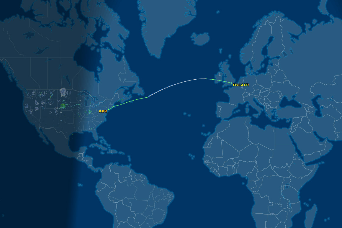 LHR to JFK route map