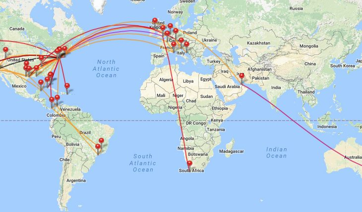 Casey Neistat travel map