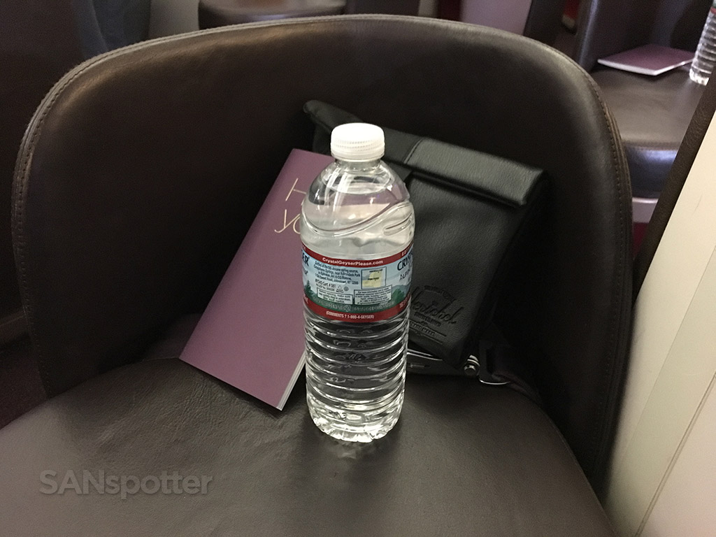virgin atlantic menus and bottled water