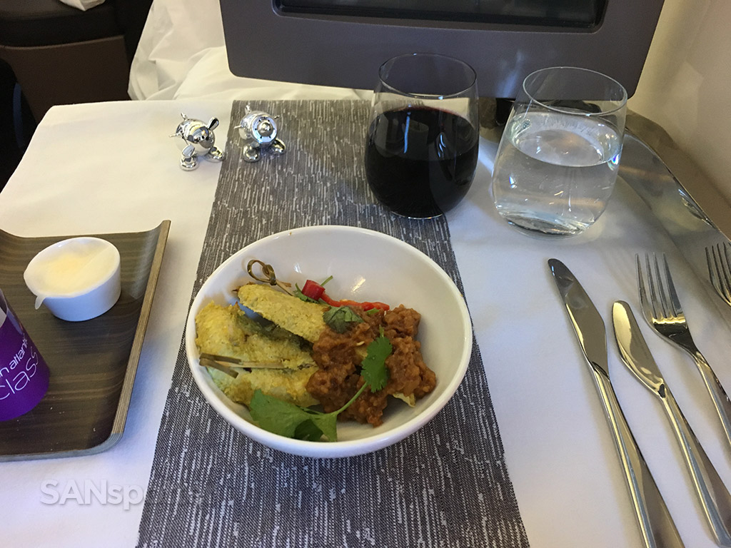 Virgin Atlantic Upper Class appetizer