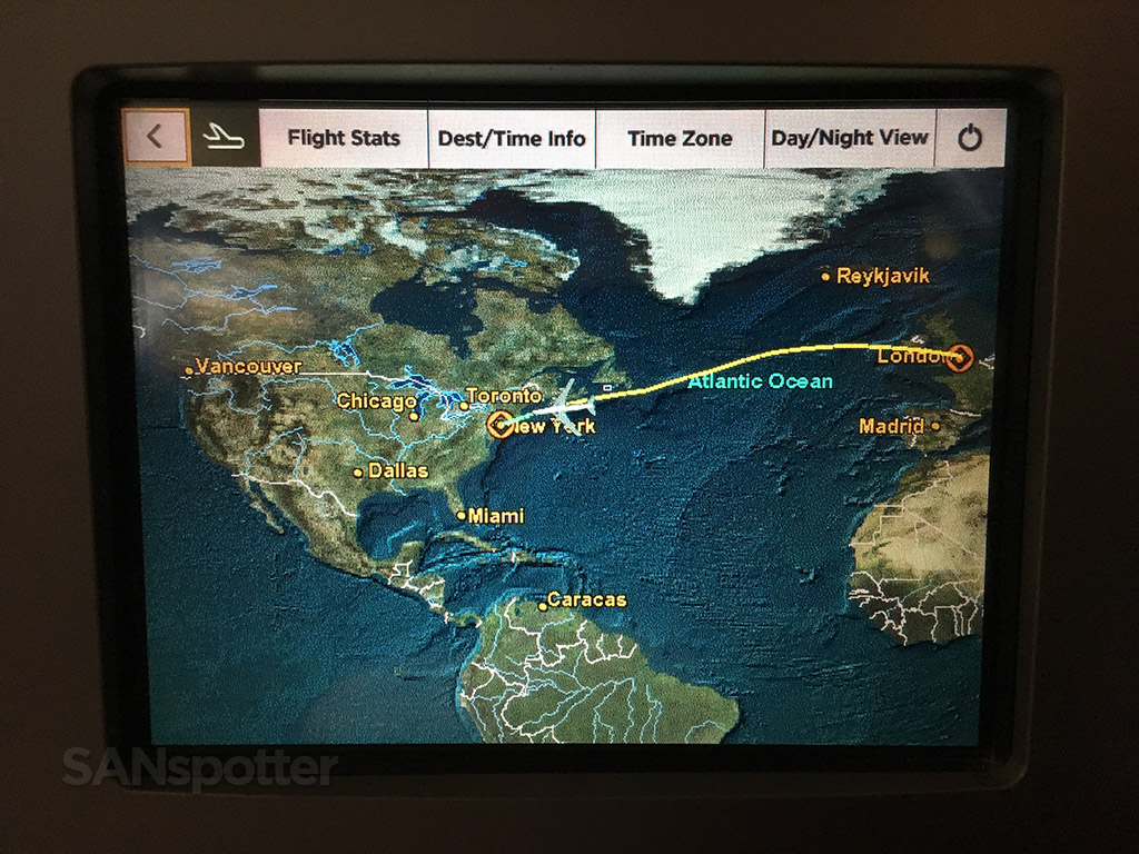 Virgin Atlantic moving map feature