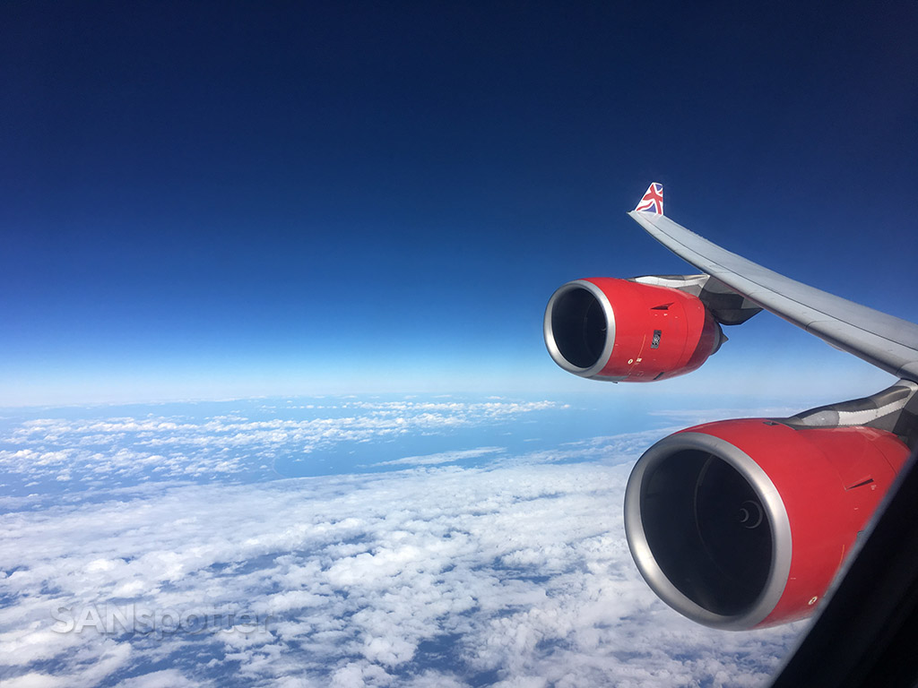 virgin atlantic a340-600 in flight