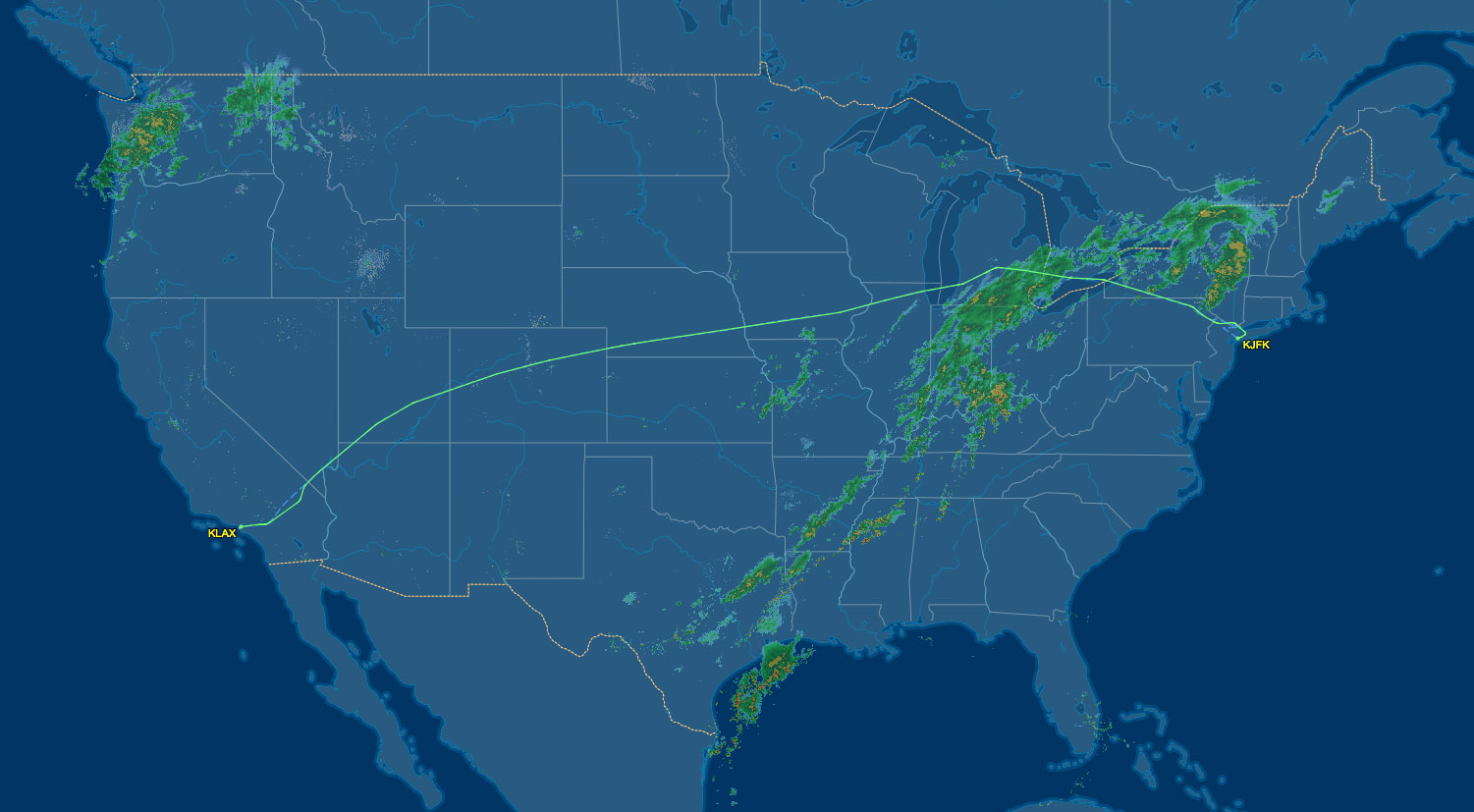 JFK to LAX route map