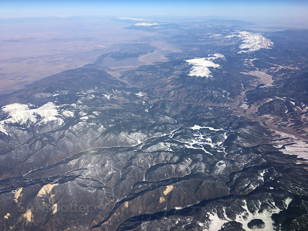 flying over western US mountains