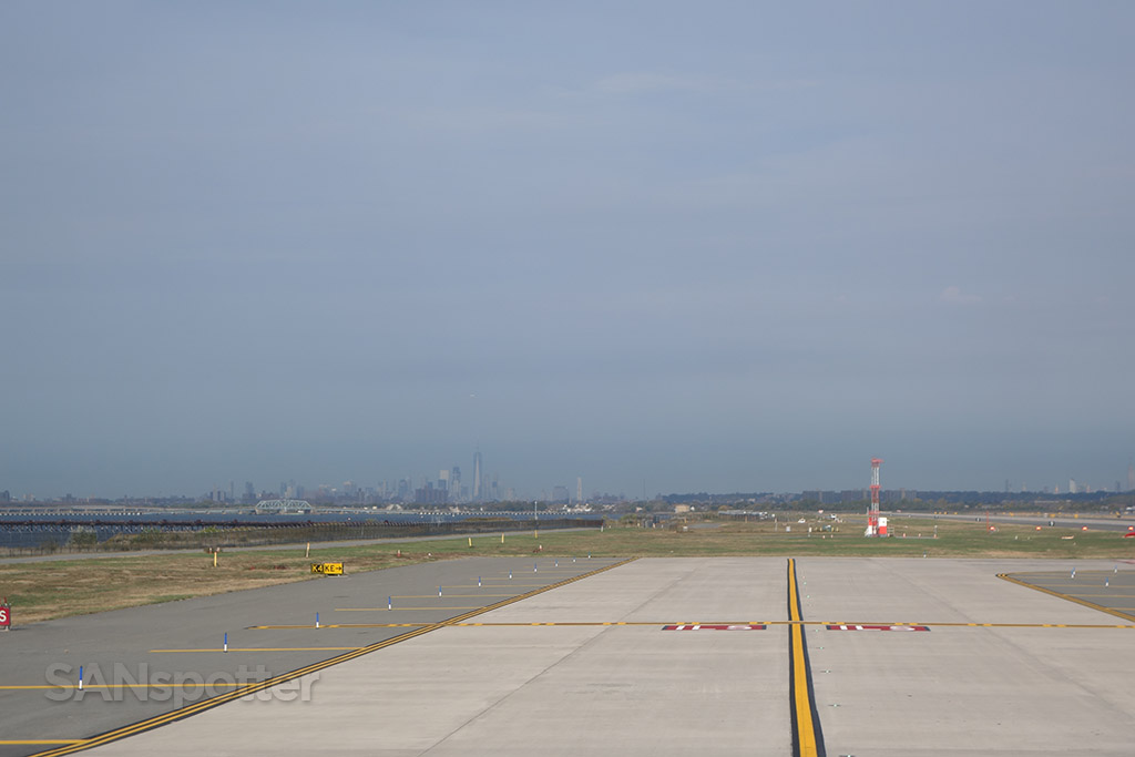 NYC skyline visible from JFK airport