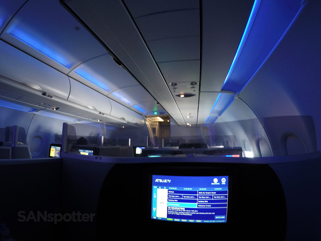 JetBlue Mint LED mood lighting