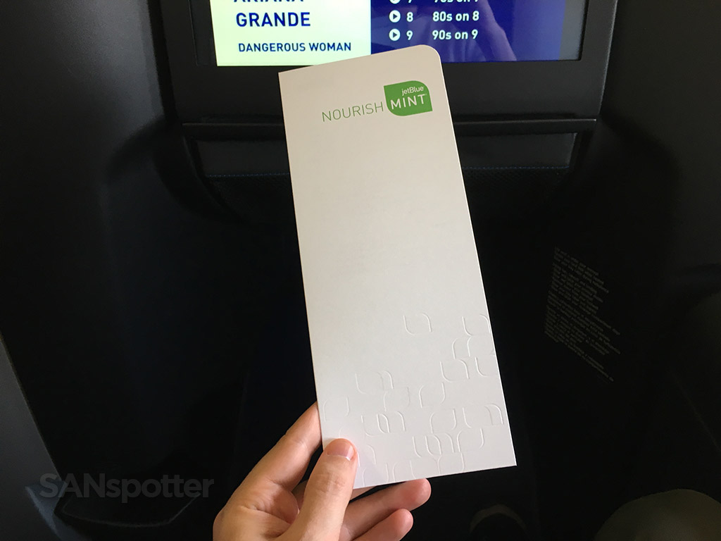 Cover of the JetBlue Mint menu