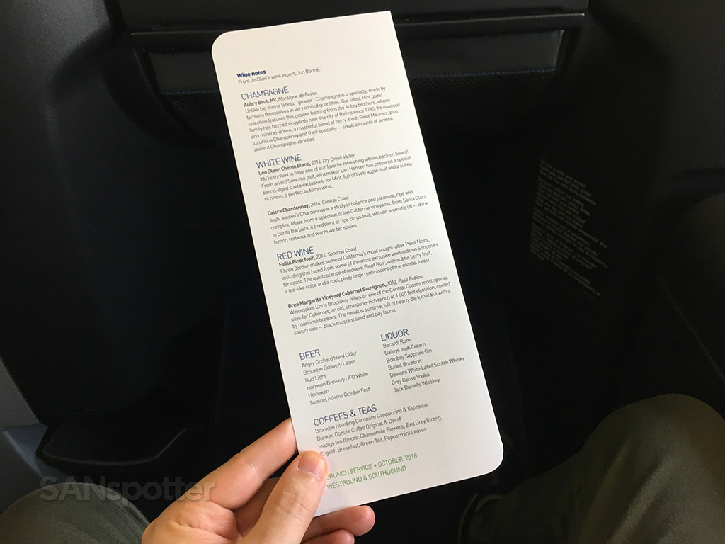 JetBlue Mint drink menu