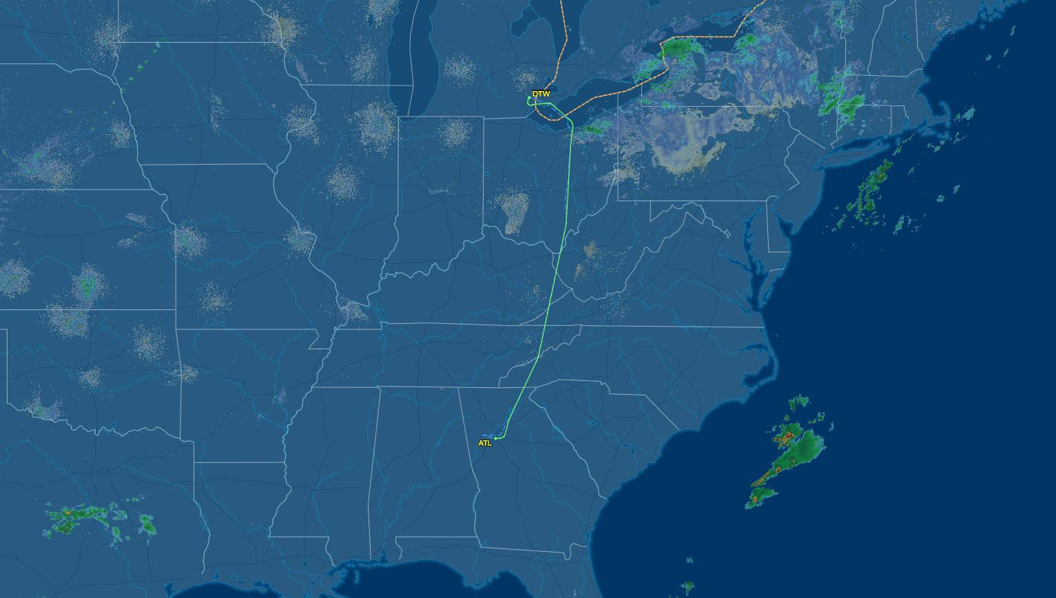 Detroit to Atlanta air route