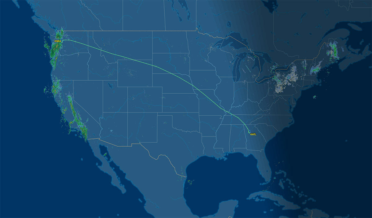 ATL to SEA flying route map