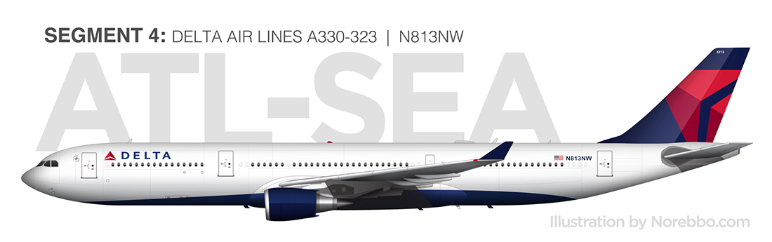 Delta A330-300 side view drawing