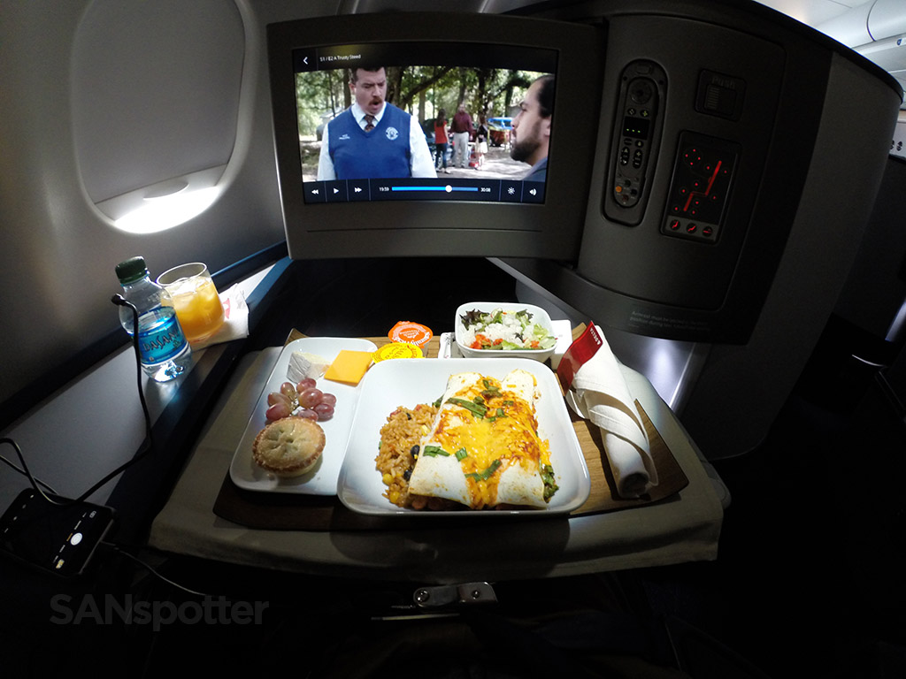 Delta one business class dinner service