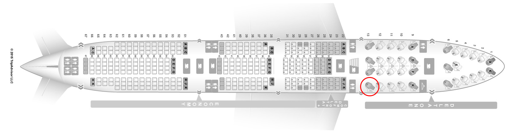 Delta Air Lines 747-400 seat map