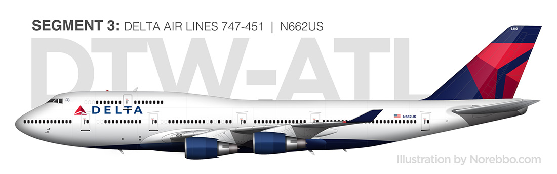 Delta 747 451 Side View Drawing