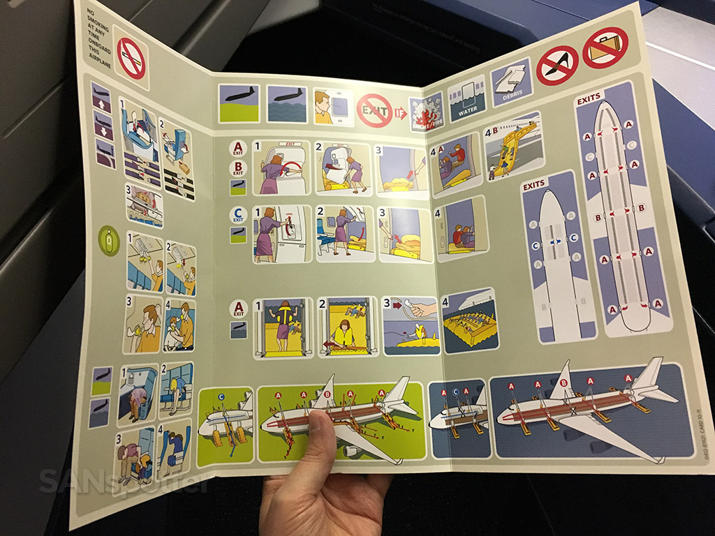 Delta Air Lines 747-400 saftey card