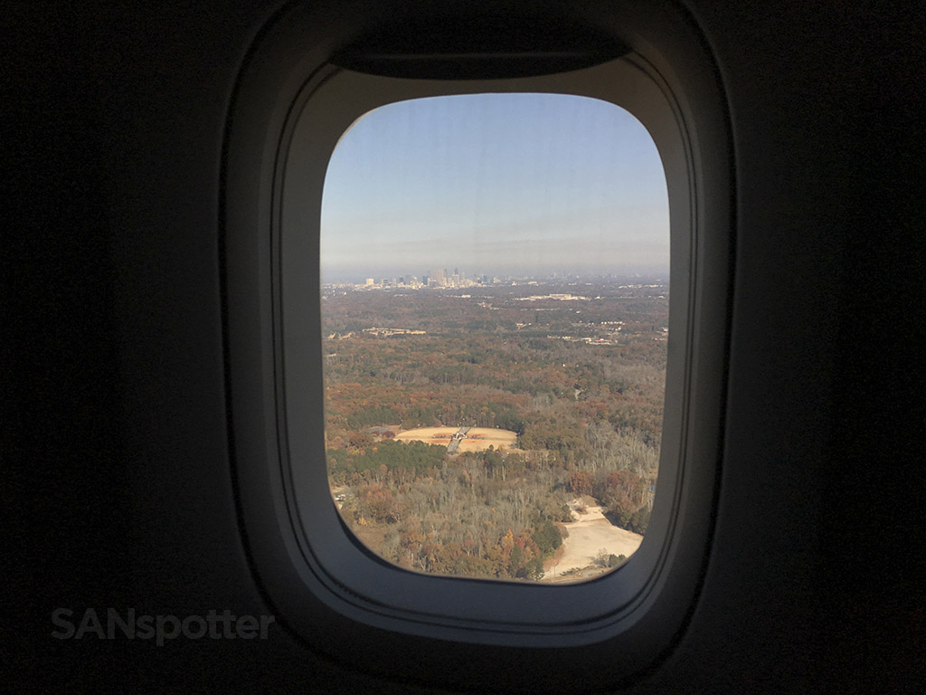 atlanta skyline airplane window