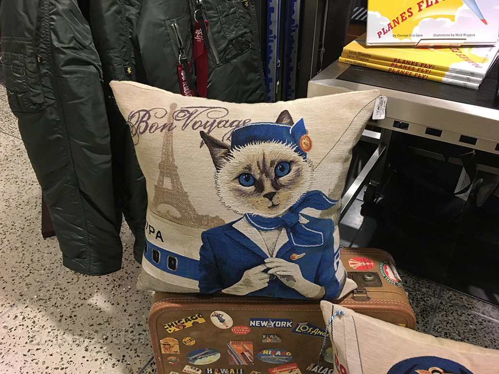 cat flight attendant pillow