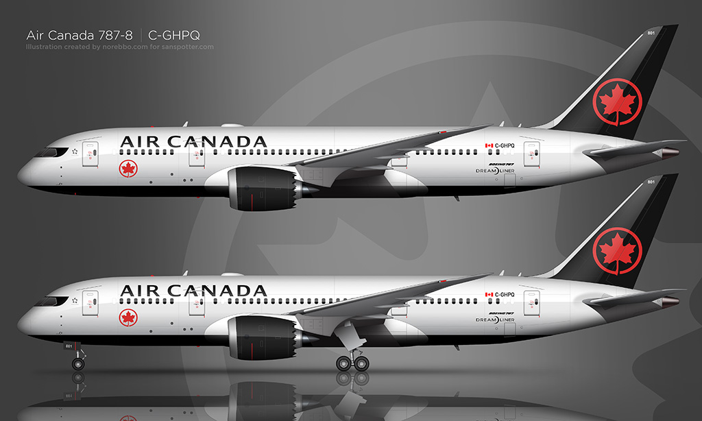 new air canada livery side view 787