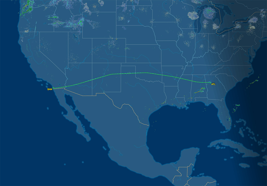 ATL to SAN route map