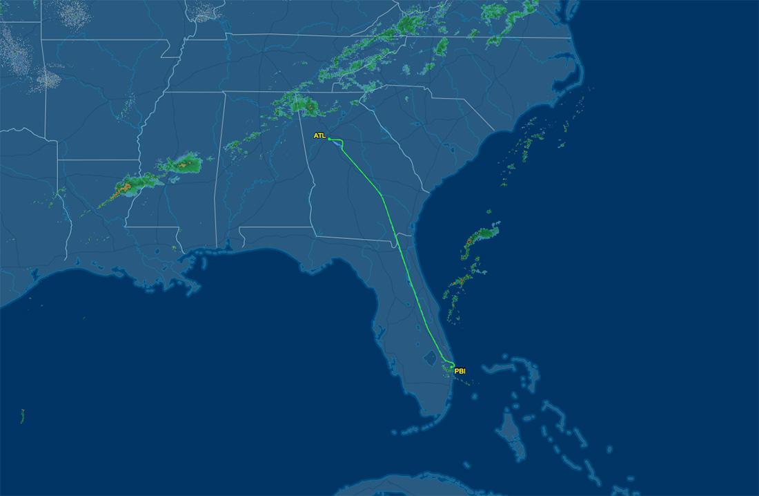 PBI to ATL air route