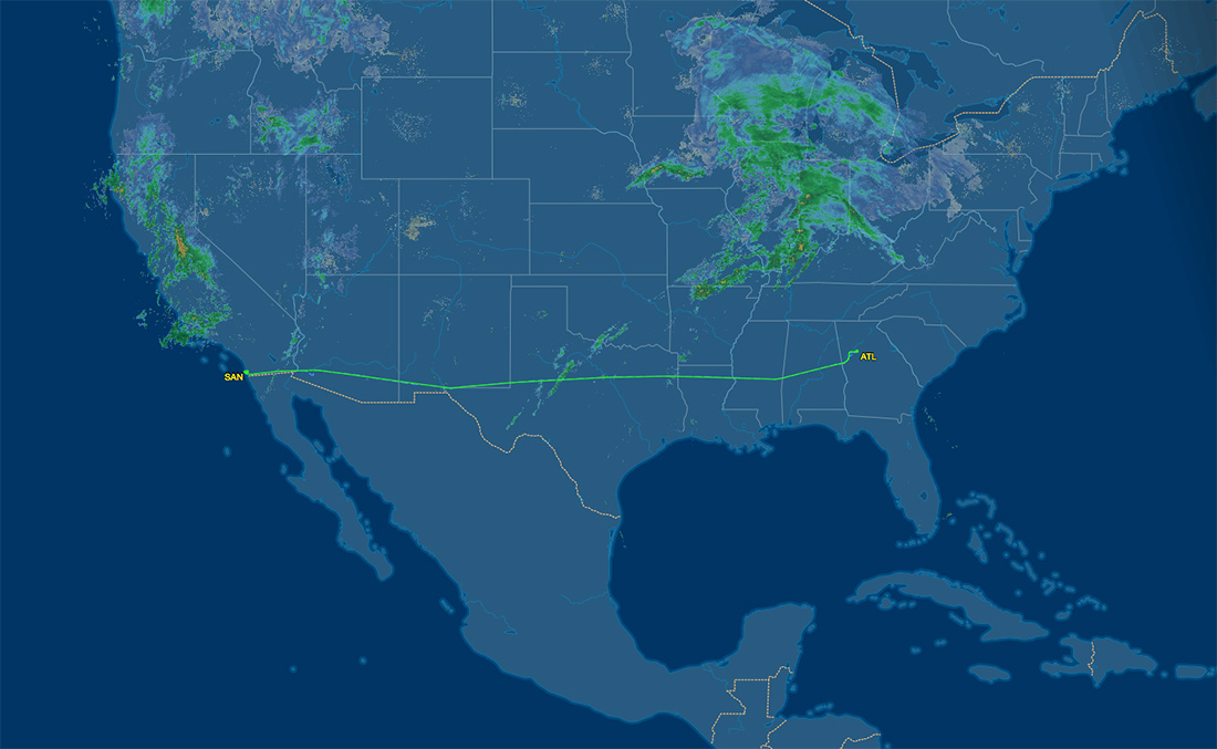 air route from SAN to ATL