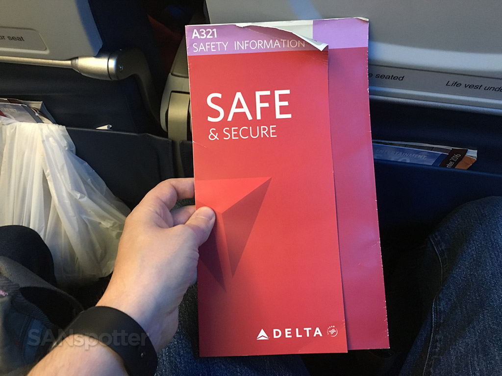 Delta a321 safety card front cover