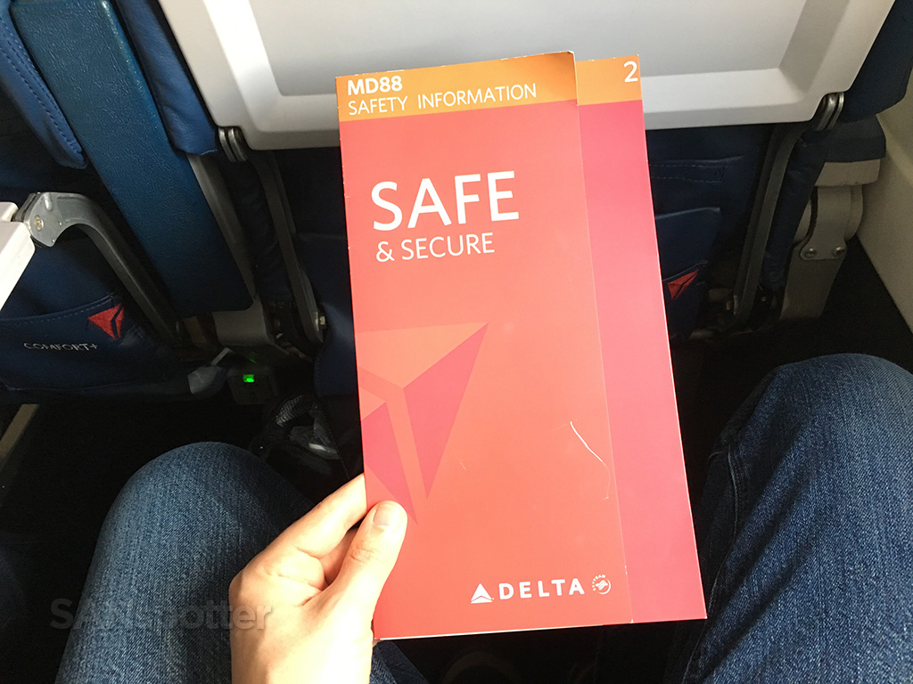 Delta Air Lines MD-88 safety card cover