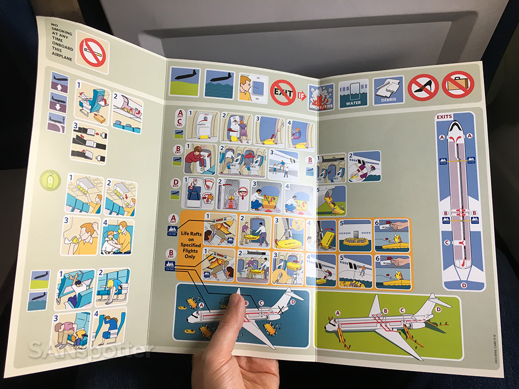 Delta Air Lines MD-88 safety card interior