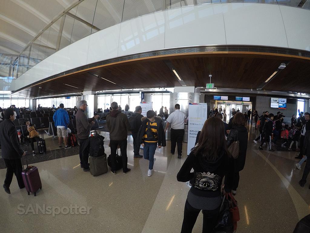 boarding Asiana A380 LAX