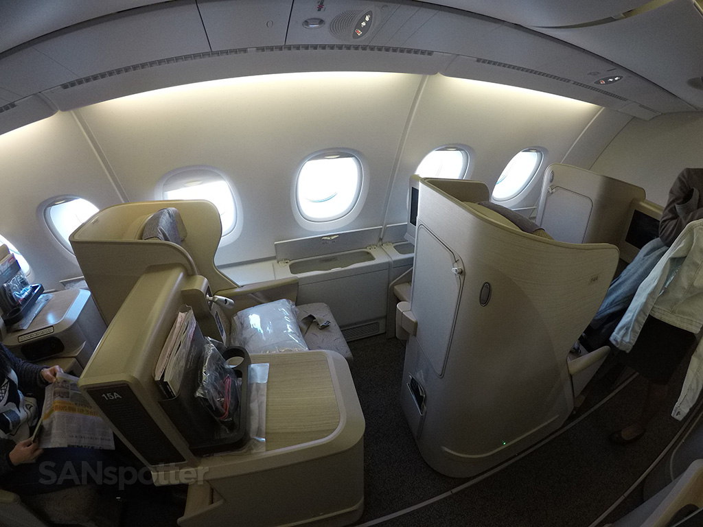 Asiana A380 business class seat 15A