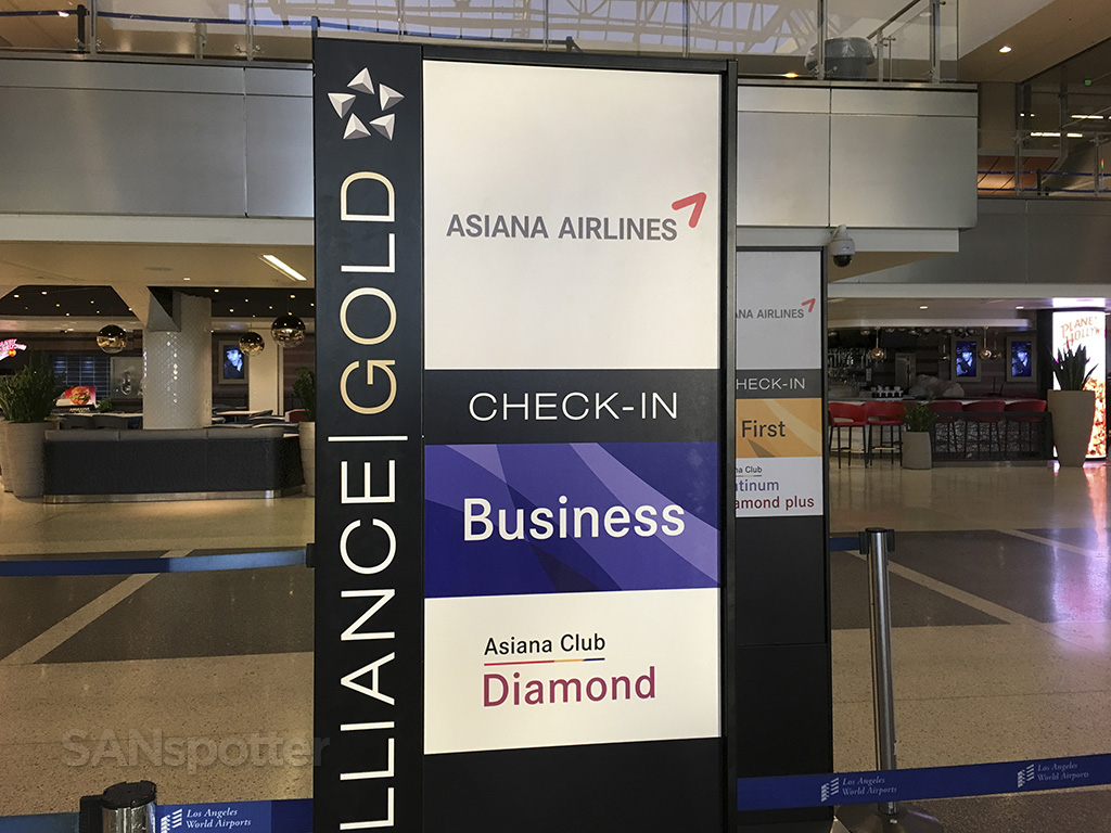 Asiana business class check in LAX