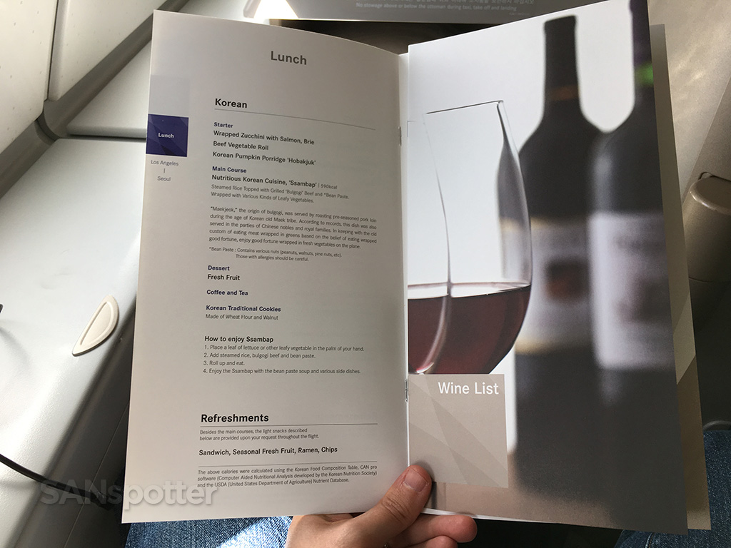 Asiana business class menu