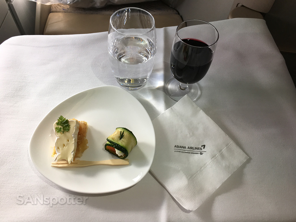 Asiana business class Korean style appetizer