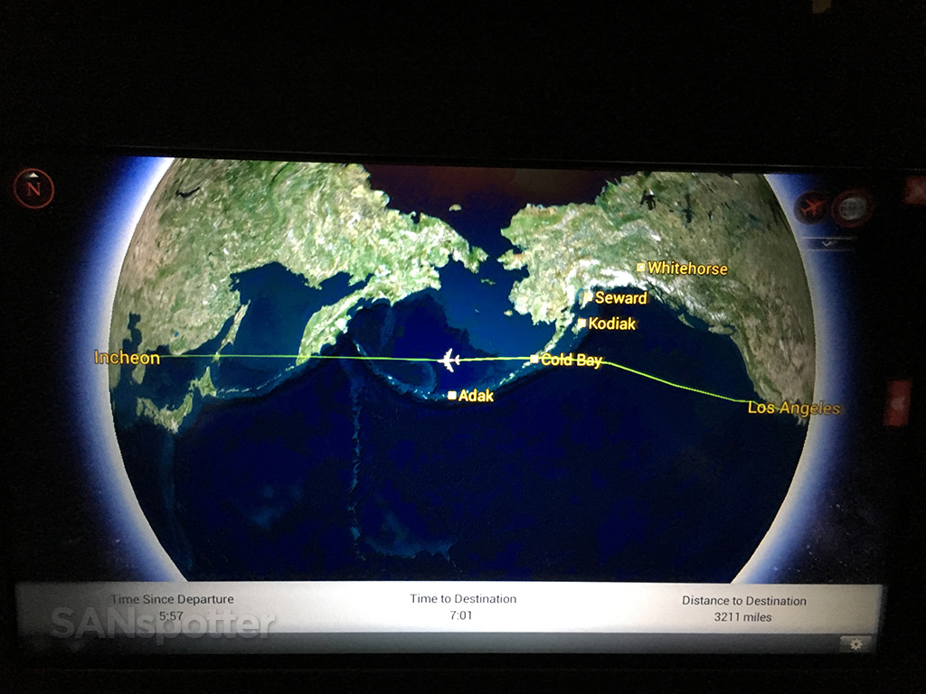 flying across pacific ocean