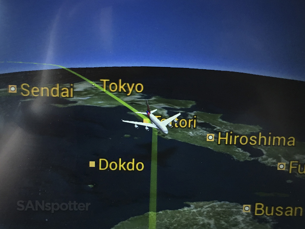 flying over Japan