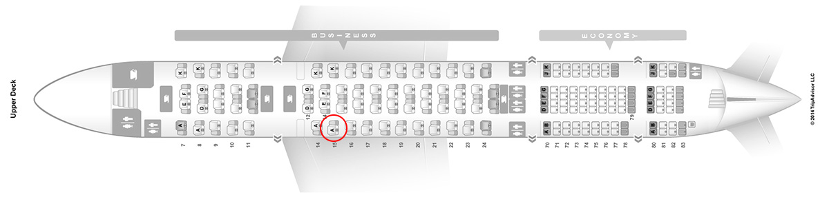asiana a380 upper deck business class seat map