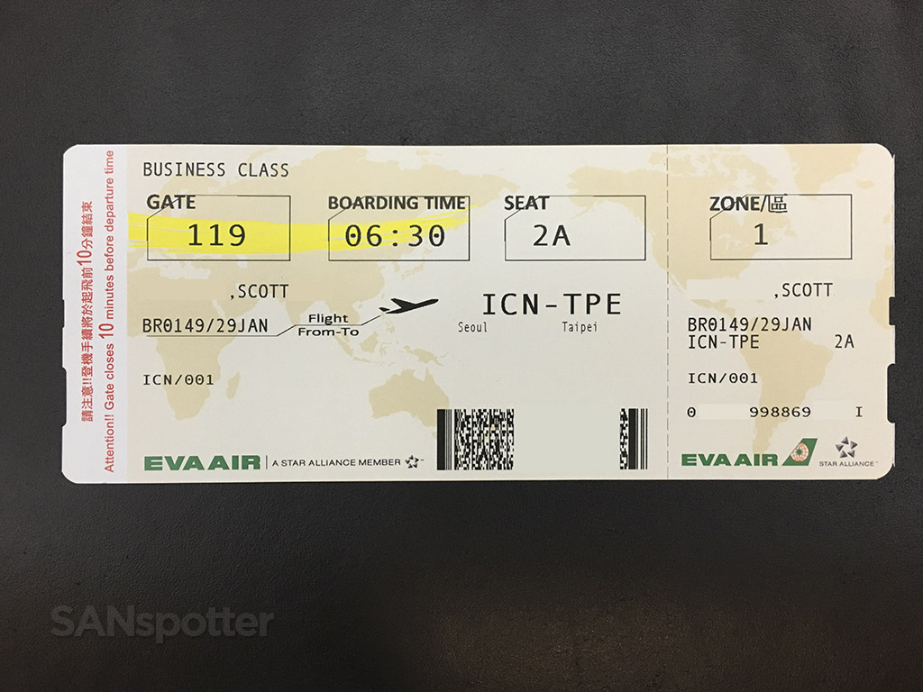 EVA air boarding pass