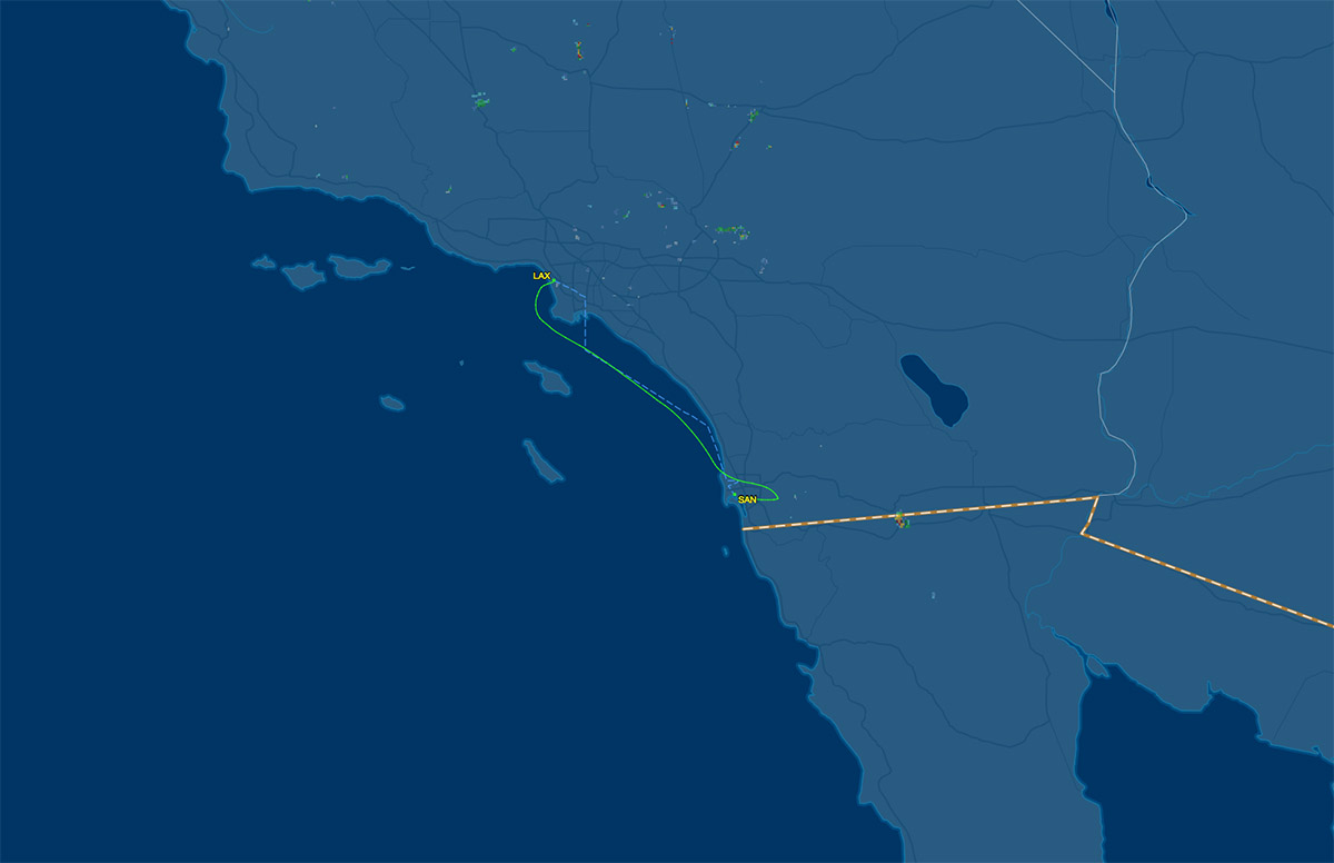 los angeles to san diego air route