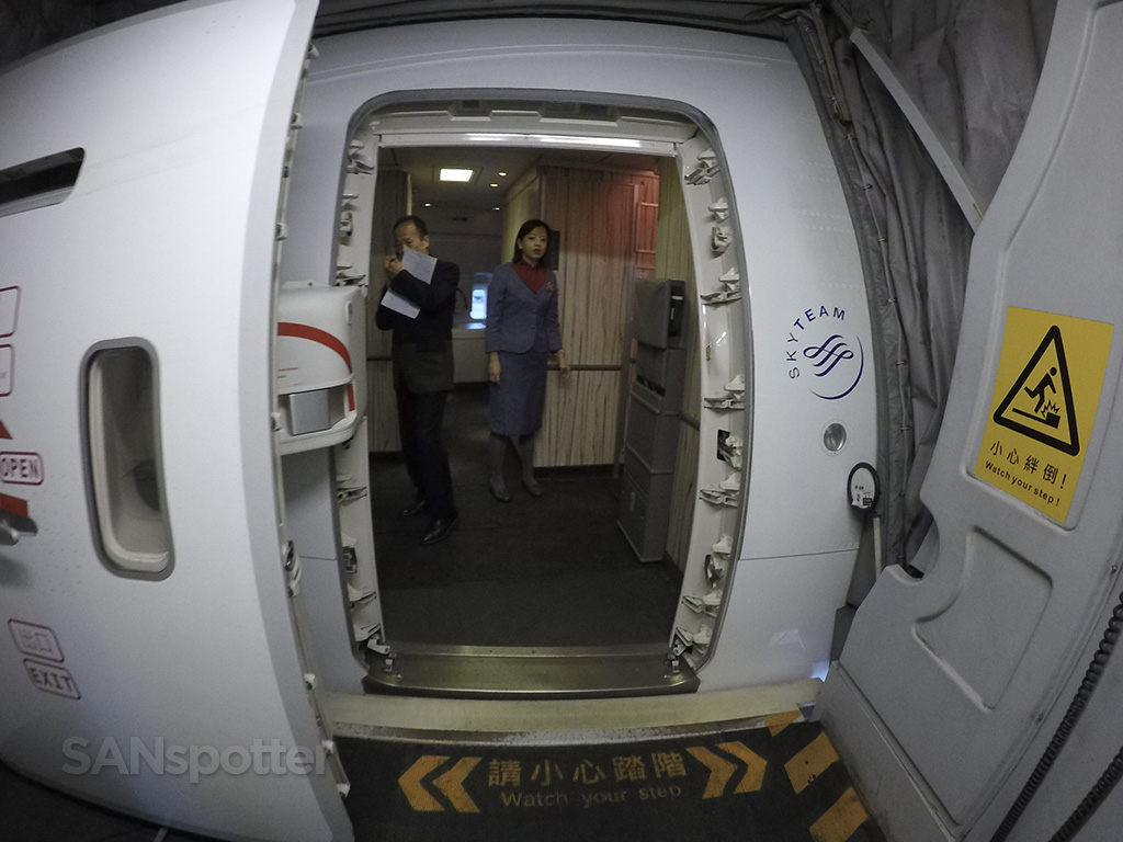 China Airlines 777-300 boarding door