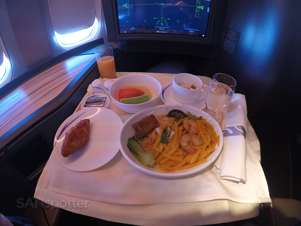 China Airlines business class breakfast