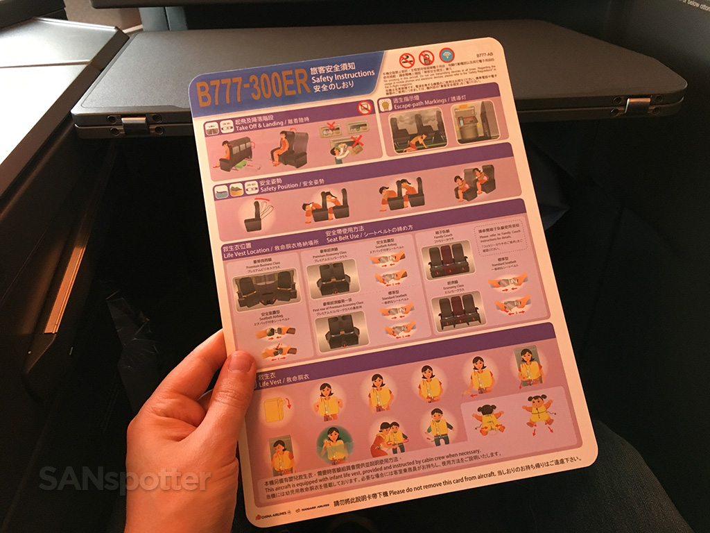 China Airlines 777-300 safety card