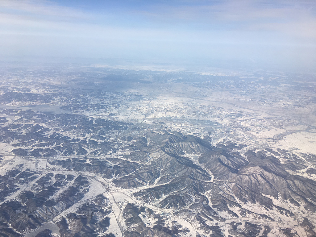 flying over south korea